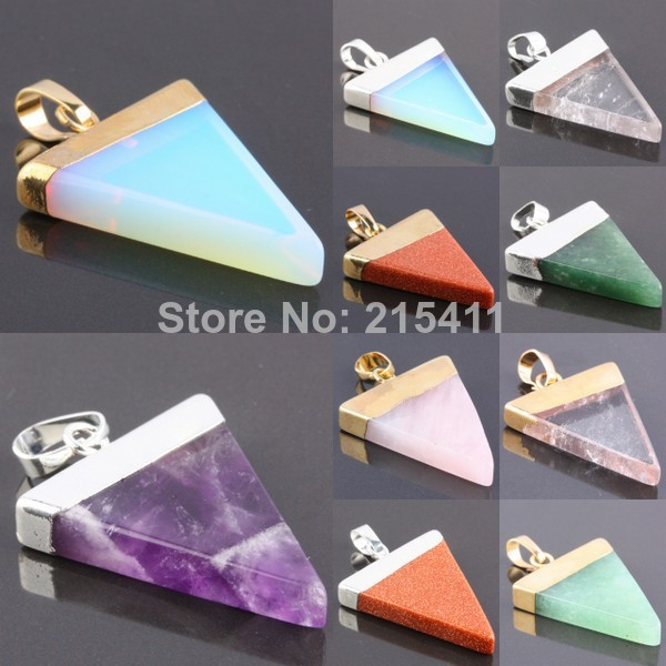 1Pc Triangle Amethyst Rose Quartz Opal Green Aventurine Gem Stone Healing Chakra Pendant Fit Necklace-in Pendants from Jewelry on Aliexpress.com | Alibaba Group