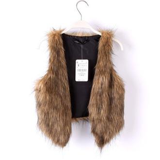 top faux fur vest brown faux fur