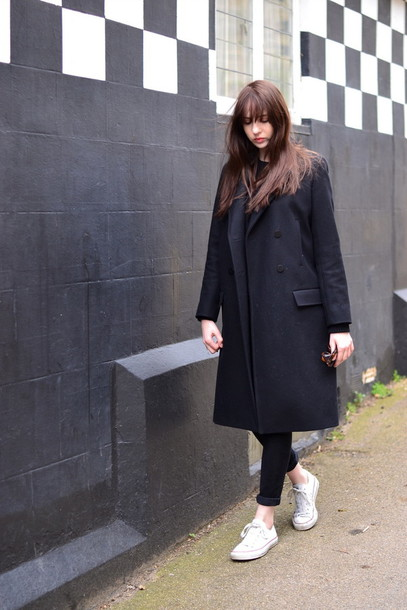 shot from the street shoes jeans sweater coat