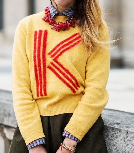 sweater yellow red letters kenzo preppy streetstyle