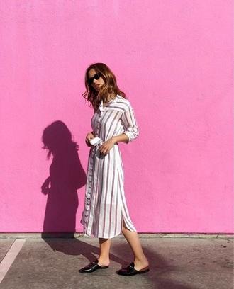 dress shirt dress spring dress striped dress shoes sunglasses midi dress spring outfits stripes