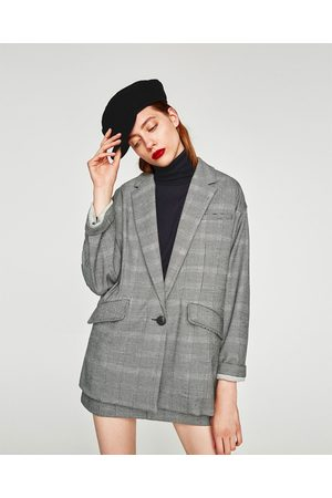 a23e01b6 Zara OVERSIZED CHECKED BLAZER