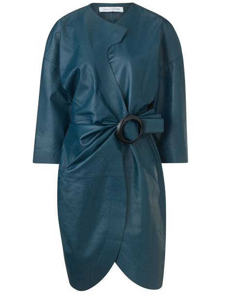 dress wrap dress leather teal blue