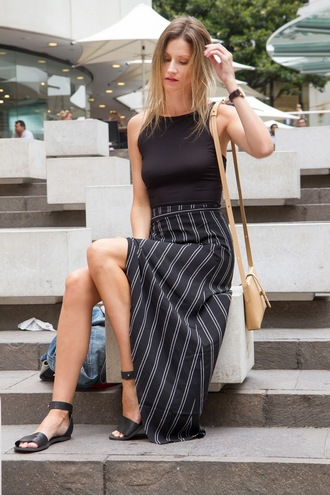 styling my life blogger skirt shoes bag maxi skirt black skirt shoulder bag flat sandals