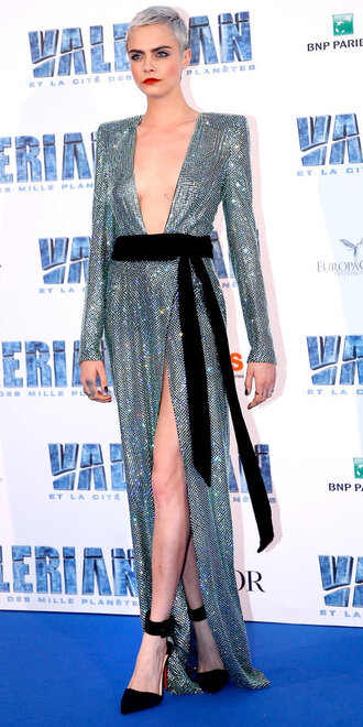 dress gown prom dress sequin dress silver wrap dress pumps cara delevingne shoes metallic