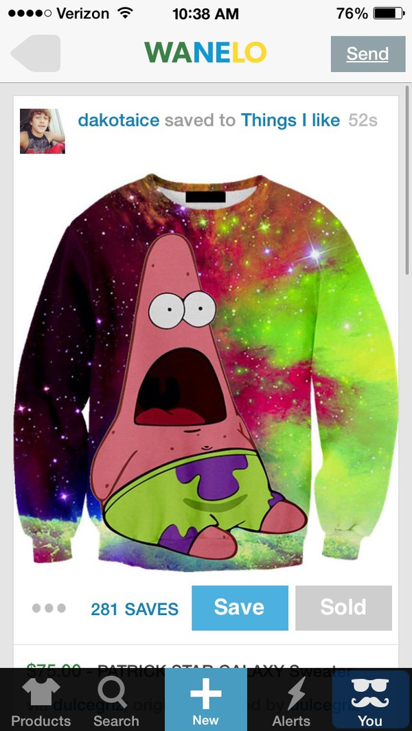 patrcick galaxy print spongebob sweater