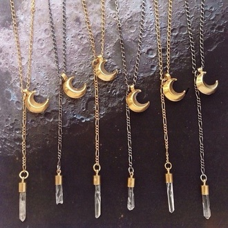 jewels necklace gold necklace moon crystal quartz accessories hippie boho chic