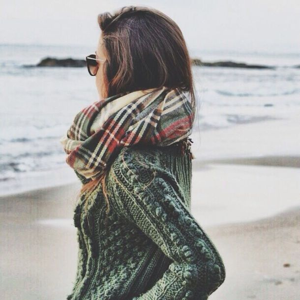 scarf sweater flannel scarf forest green plaid infinity fall outfits knitted sweater cashmre warm