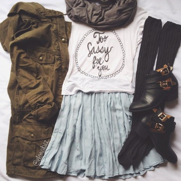 jacket t-shirt scarf socks cut out ankle boots