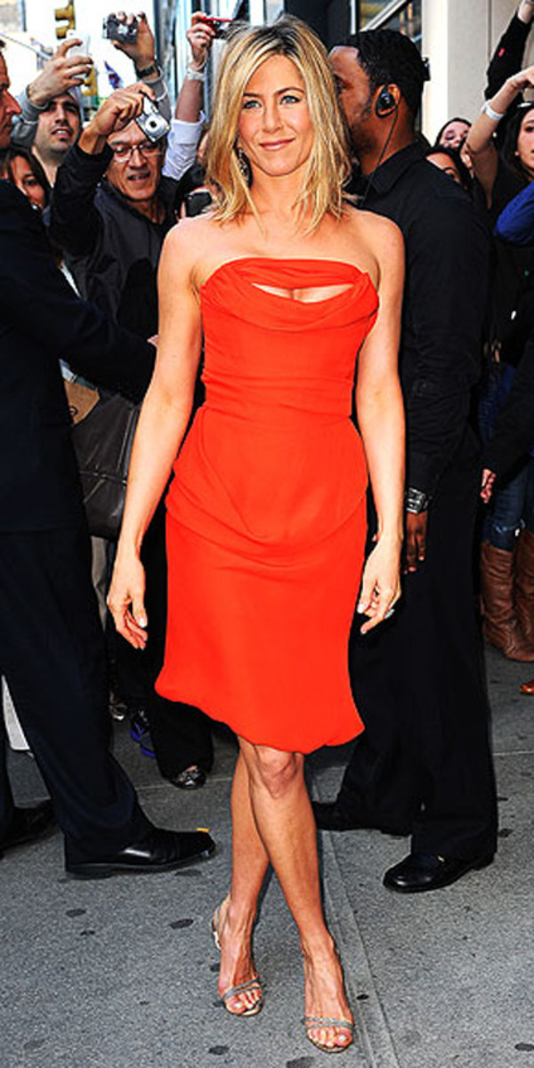 dress jennifer aniston orange dress shoes