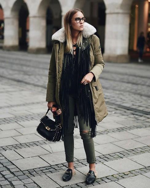 Green winter puffer jacket
