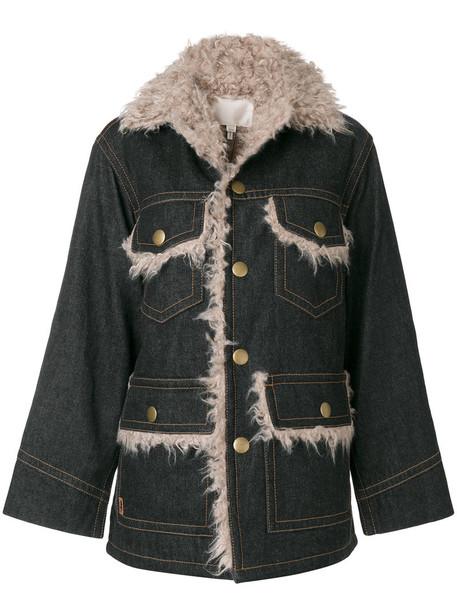Marc Jacobs jacket pocket jacket denim oversized women cotton black