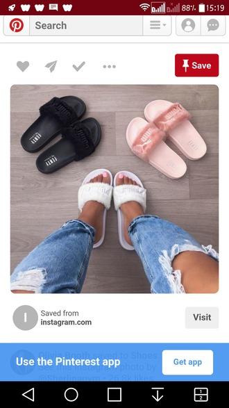 shoes black puma sandals light pink puma sandals white puma shoes