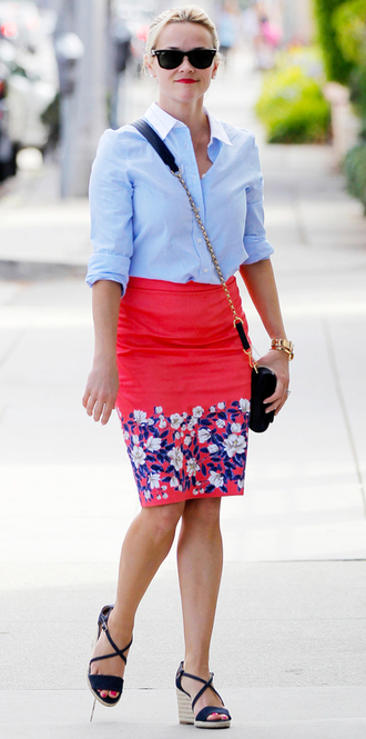 skirt floral wedges sandals reese witherspoon shirt shoes office outfits