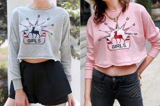 shirt deer sweater girl