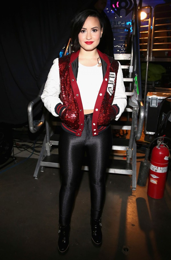 Shoes: leggings, demi lovato, baseball jacket, sparkle ...