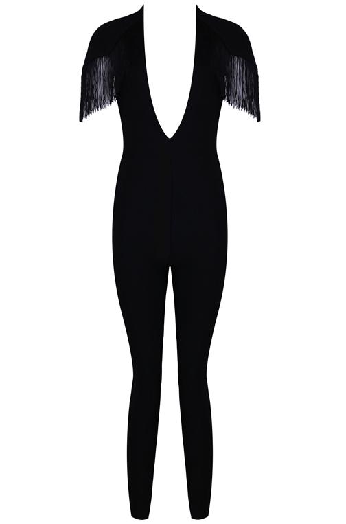 Plunge Tassel Bandage Jumpsuit Black