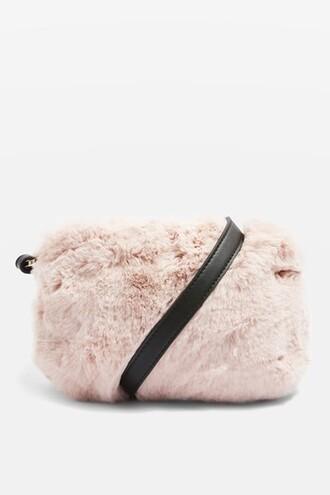 cross fur faux fur pale bag pink