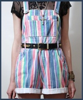 shirt,90s grunge,romper,short overalls,stripes,boho,boho chic,cute,pants,overalls,pastel,retro,90s style