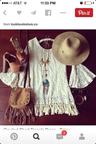 dress crochet crochet dress fringes lace dress