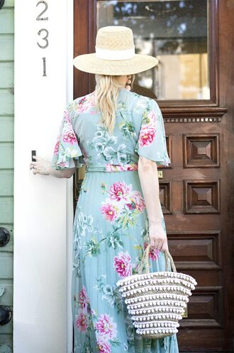 a lacey perspective - a fashion blog based in our nation's capital. blogger dress hat bag jewels sunglasses sun hat basket bag floral dress summer dress summer outfits
