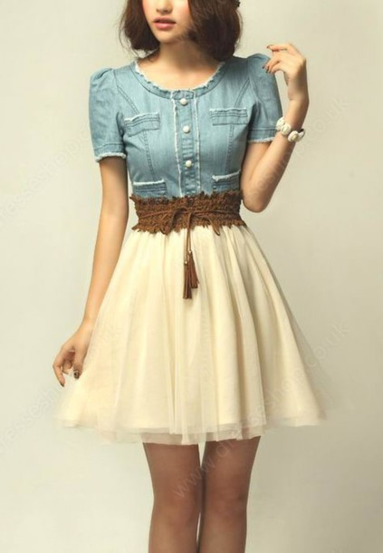 dress girl fashion clothes hair skirt girly cute vintage white skirt photography half denim classy dess top country style country dress summer dress
