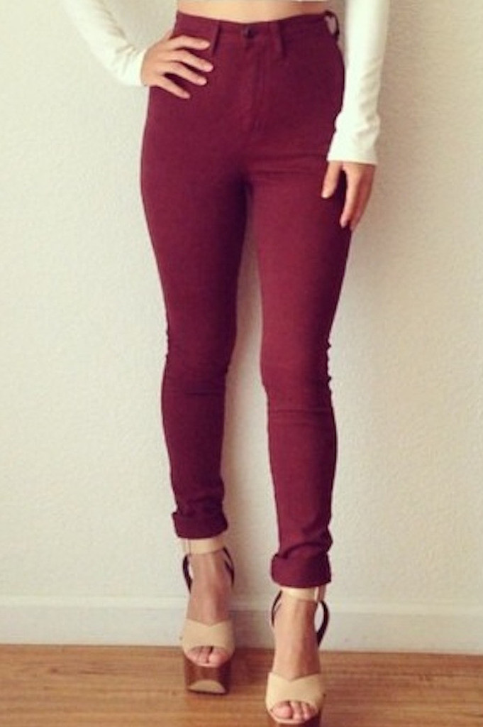 Red pants skinny jeans – colors of aurora