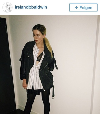 jacket ireland baldwin instagram oversized biker jacket black biker jacket leather jacket black leather jacket celebrity style blonde hair