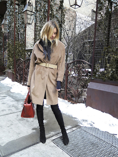 camille over the rainbow blogger coat belt scarf suede jacket waist belt suede boots