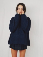 sweater,black,warm,winter sweater,cute,girly,turtleneck,wool,navy,oversized turtleneck sweater,skirt
