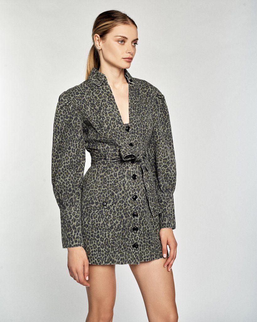 Mera Leopard Print Canvas Mini Dress
