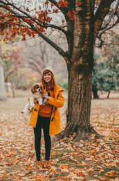 the clothes,blogger,jeans,duffle coat,orange,dog,derbies,knitted beanie,rust
