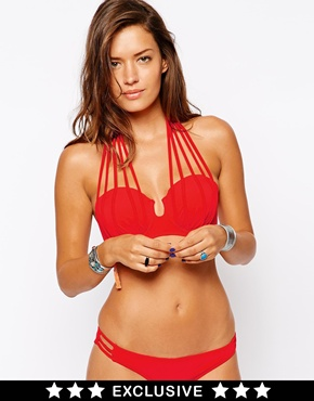 ASOS FULLER BUST Exclusive Lattice Bandeau Bikini DD-G at asos.com