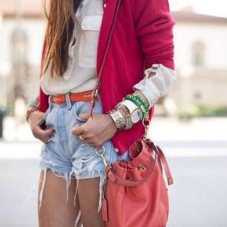 shorts purse top jewelry