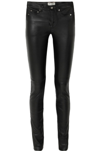 Saint Laurent pants skinny pants leather black
