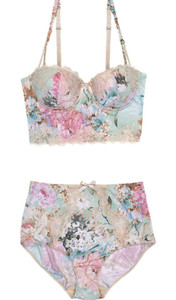 underwear pastel pastel colors pink blue white flowers flowers print high waisted short floral floral print swimwear