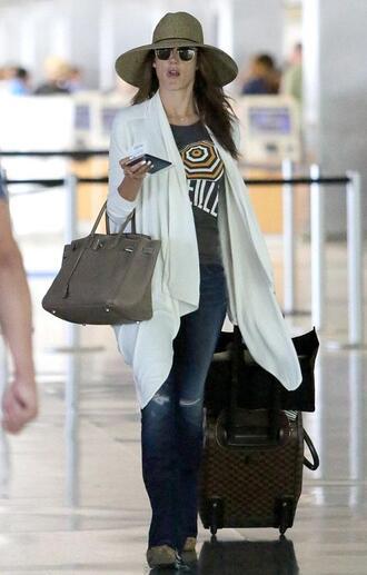 cardigan hat jeans top sunglasses alessandra ambrosio
