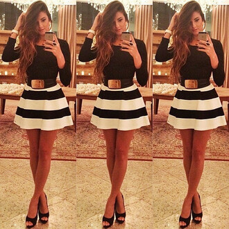 dress skater dress long sleeve dress long sleeves long sleeved dresses black and white black and white dress striped dress black and white stripes skirt