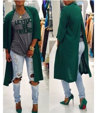 coat out cute girly slit green outfit iutfit outfit idea fall outfits office outfits date outfit spring outfits cute outfits party outfits outerwear women fashion style 3 /4 sleeve 3 / 4 sleeve 3/4 denim destroyed skinny jeans ripped jeans ripped high heels high heel sandals cute high heels heels heel red bottoms christian louboutin heels jewelry necklace hand jewelry jacket