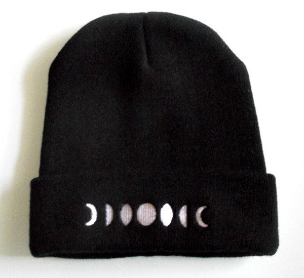 Moon Phases Beanie - Black/White Hat - Embroidered Phases of the Moon - Lunar Cycle Beanie