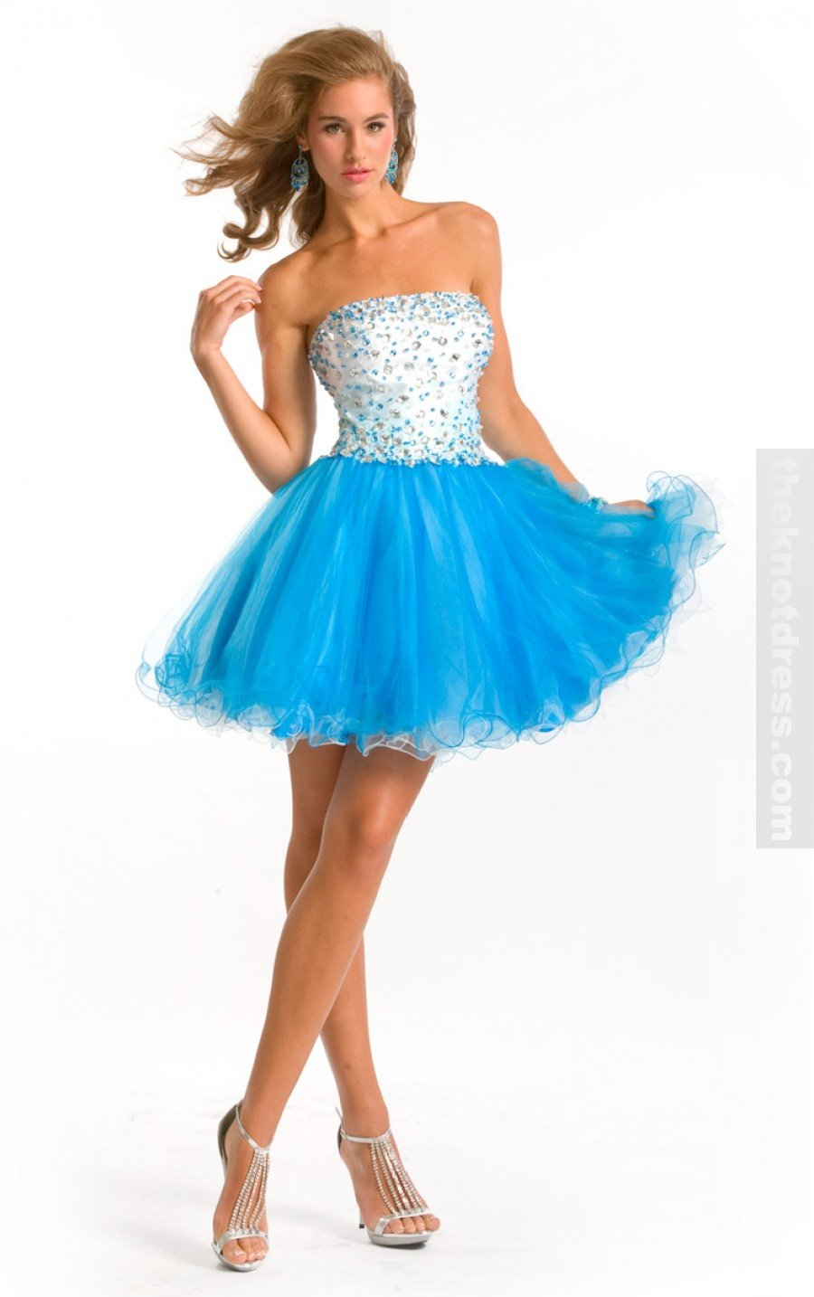Blue Ball Gown Knee-length Strapless Dress, Cheap Party Dresses Sale Uk