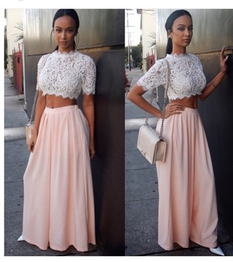 top white crop tops crop tops blouse high waisted skirt skirt outfit spring outfits spring draya michele high waisted denim shorts shoes purse bag handbag see through lace top style fashion