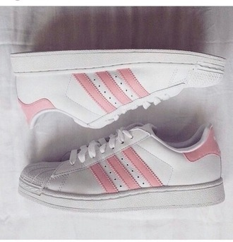 shoes pink white adidas