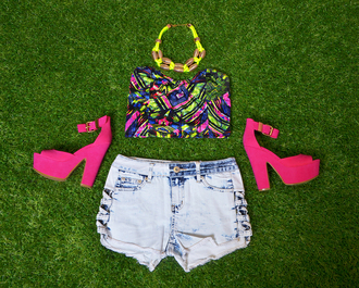 denim shorts platform shoes bandeau crop top acid wash multicolor shorts