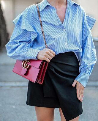 skirt date outfit tumblr mini skirt black skirt asymmetrical asymmetrical skirt bag red bag gucci gucci bag shirt blue shirt ruffle ruffle shirt spring outfits
