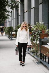 bows&sequins,blogger,sweater,jeans,shoes,bag,jewels,bell sleeves,bell sleeve sweater,black pants,fall outfits