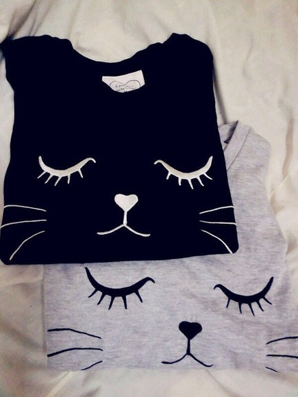 grey cats cats shirt cute sweater black and white design qt unique warm cat sweater cats pullover blouse black t-shirt top crop tops