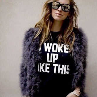 shirt quote on it black white beyoncé shirt i woke up like this i woke up like this shirt t-shirt beyonce tshirt