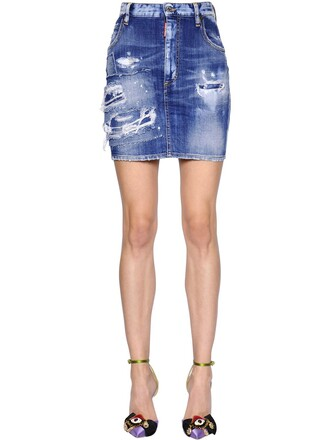 skirt mini skirt denim mini cotton blue