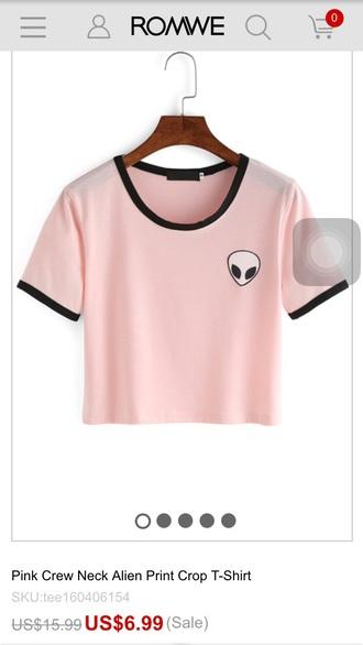 shirt pink alien cute t-shirt black pastel pink alien shirt alien patch fashion crop tops cropped teenagers light pink summer cool beautifulhalo
